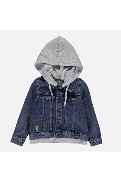 Overdo Dijital Baskılı Kapüşonlu Erkek Çocuk Kot Ceket