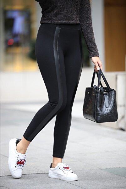 Grenj Fashion Siyah Önü Deri Şeritli Yüksek Bel Toparlayıcı Kışlık Tayt