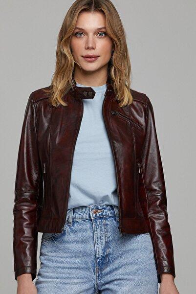 Derimod Kylie-x Kadın Bordo Deri Ceket
