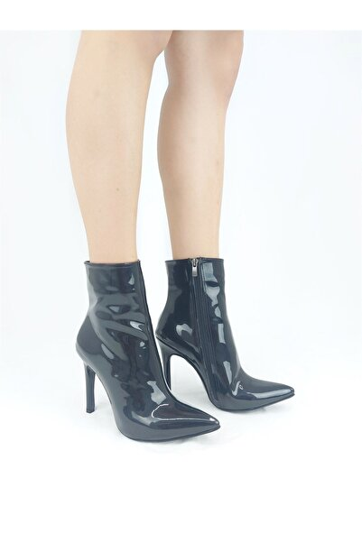 Radikal Halden Siyah Rugan Stiletto Topuklu Bot