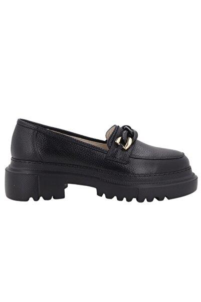 Hobby 21158 Hakiki Deri Kadın Günlük Ayakkabı Siyah