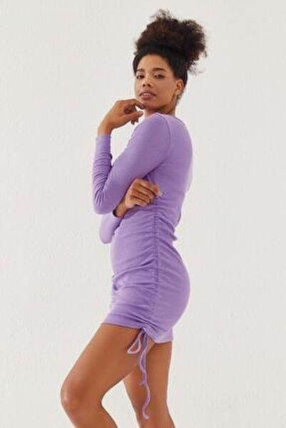Kadın Yanları Büzgülü Kaşkorse Elbise Lila