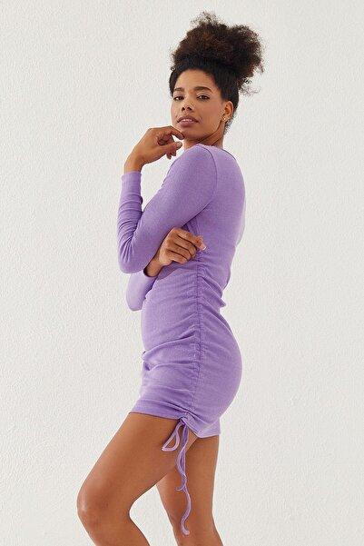 Reyon Kadın Yanları Büzgülü Kaşkorse Elbise Lila