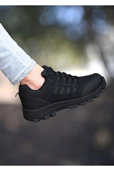 TUGGON Erkek Siyah Kışlık Kaydırmaz Günlük Spor Traking Ayakkabı