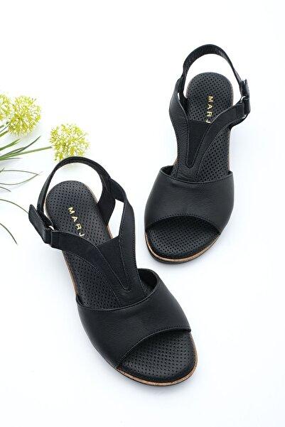 Marjin Kadın Hakiki Deri Dolgu Topuk Sandalet Alissiyah
