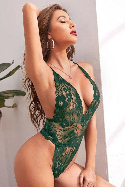 Rose Alexandra Kadın Yeşil Sırtı Ipli Dantel Babydoll