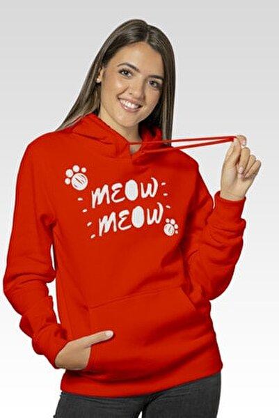 Kadın Kanguru Cepli Kırmızı Sweatshirt - Meow Meow Baskılı