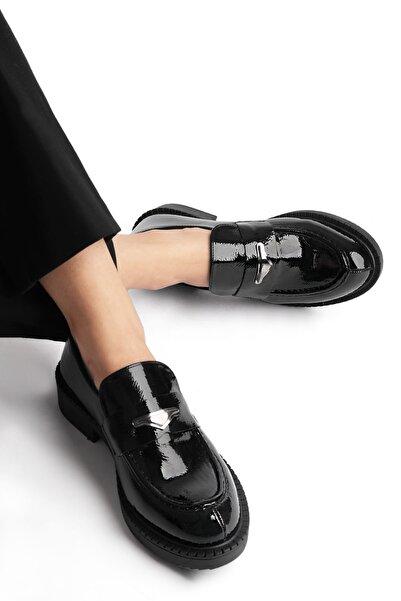 Marjin Kadın Kalın Taban Loafer Ayakkabı DunazSiyah Rugan