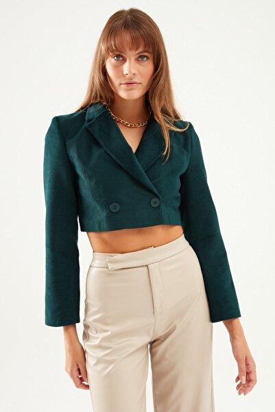 Quzu Kadife Crop Blazer Ceket Koyu Yeşil