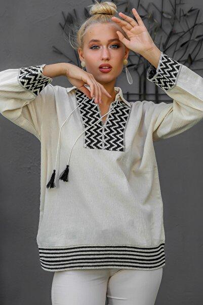 Chiccy Kadın Bej Gömlek Yaka Dev Şerit Detaylı Püskül Bağlamalı Salaş Dokuma Bluz M10010200BL94873