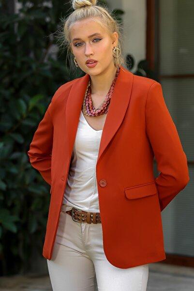 Chiccy Kadın Kiremit Mini Şal Yaka Tek Düğmeli Kapaklı Cepli Astarlı Blazer Ceket M10210100CE98915