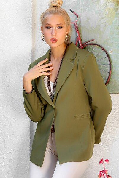 Chiccy Kadın Haki Yakalı Gizli Cepli Tek Kaplama Düğmeli Astarlı Blazer Ceket M10210100CE98927