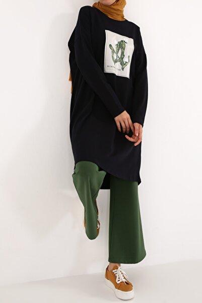 ALLDAY Lacivert Kaktüs Baskılı Uzun Kollu T-shirt Tunik
