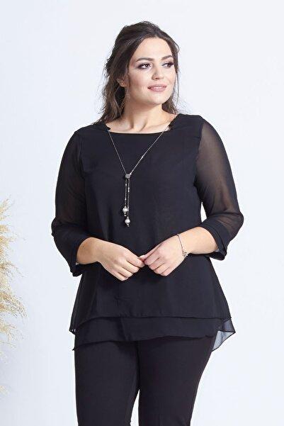 Moda Berray Kadın Siyah Kolye Yakalı Şifon Büyük Beden Bluz