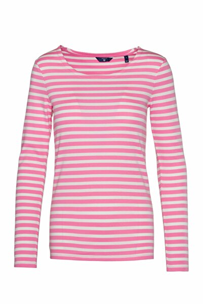 Gant Kadın 1x1 Rib Striped Ls T-shirt Pembe