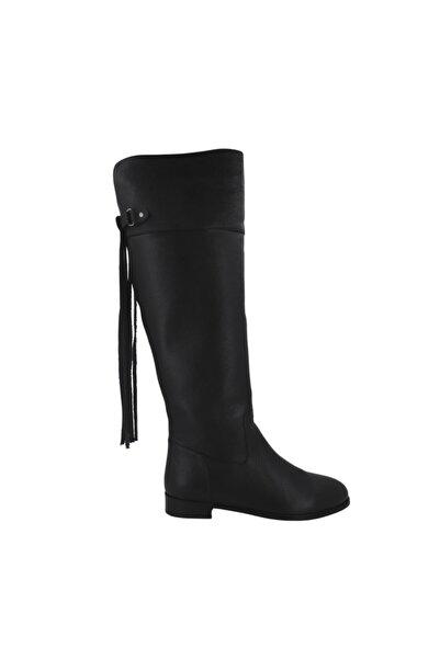 Hobby 21422 Hakiki Deri Kadın Günlük Binici Çizme Siyah