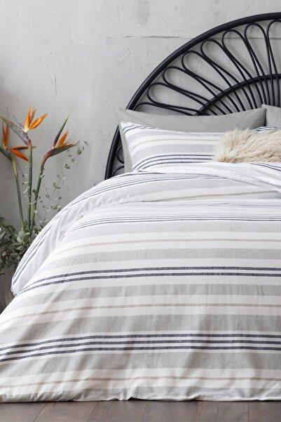 English Home Modern Stripe Pamuklu Çift Kişilik Nevresim Seti 200x220 Cm Gri