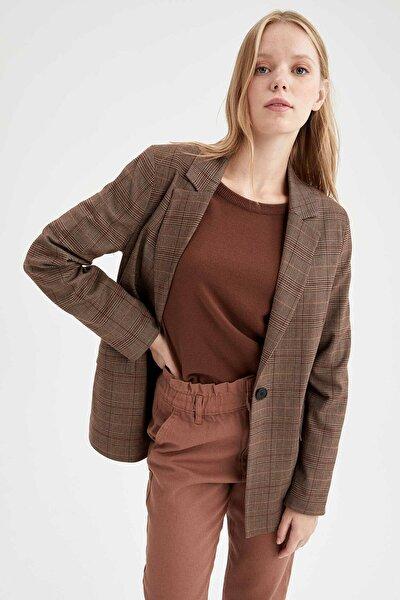 DeFacto Kapaklı Cepli Regular Fit Uzun Kollu Blazer Ceket