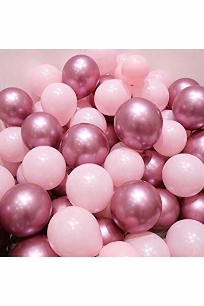 BalonEvi Krom Pembe Ve Makaron (pastel) Pembe Renk 15 Li Balon