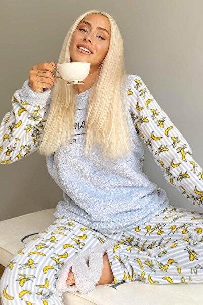 Pijamaevi Mavi Lover Banana Desenli Kadın Peluş Pijama Takımı
