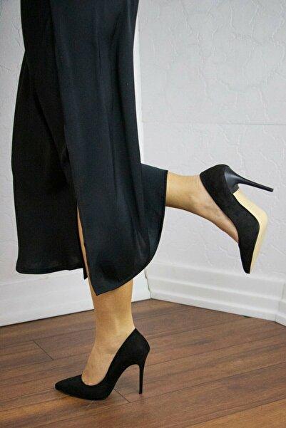 GULT Kadın Stiletto Ince Yüksek Topuklu Ayakkabı Siyah Süet