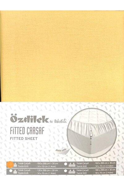 Özdilek 180x200 Fitted Kumaş Lastikli Yatak Çarşafı Yastık Kılıflı Gold