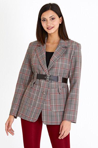 VALE WOMAN Valewoman Şal Yaka Detaylı Cepli Bel Kemerli Blazer Kadın Ceket