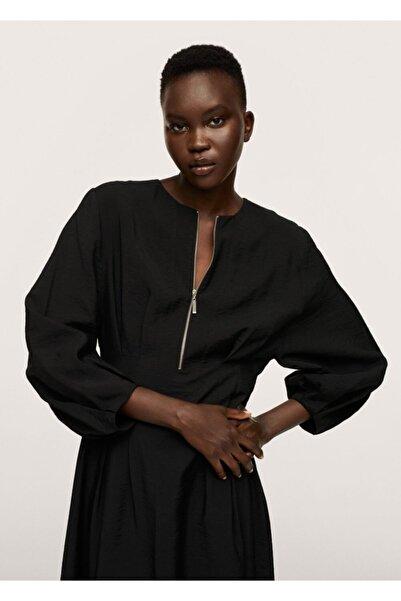 MANGO Woman Kadın Siyah Dökümlü Modal Elbise