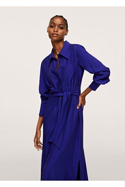 MANGO Woman Kadın Mavi Kuşaklı Gömlek Elbise