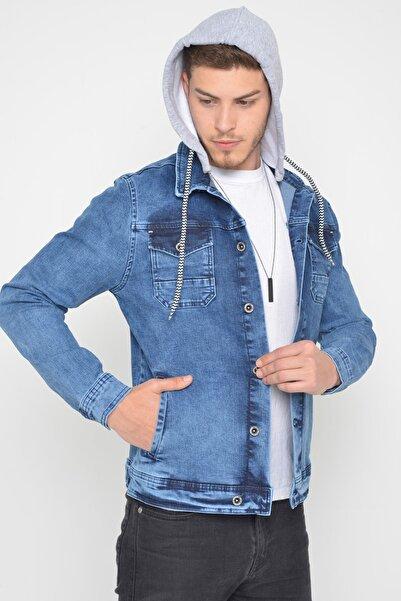 LTC Jeans Erkek Çıkarılabilir Kapüşonlu Random Yıkamalı Mavi Kot Ceket
