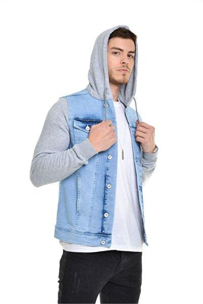 LTC Jeans Buz Mavisi Kapüşonlu Desenli Kumaş Detay Erkek Kot Ceket
