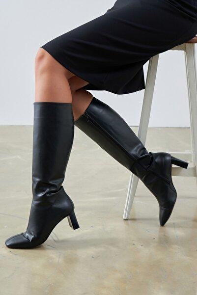 Gusto Uzun Topuklu Çizme - Siyah