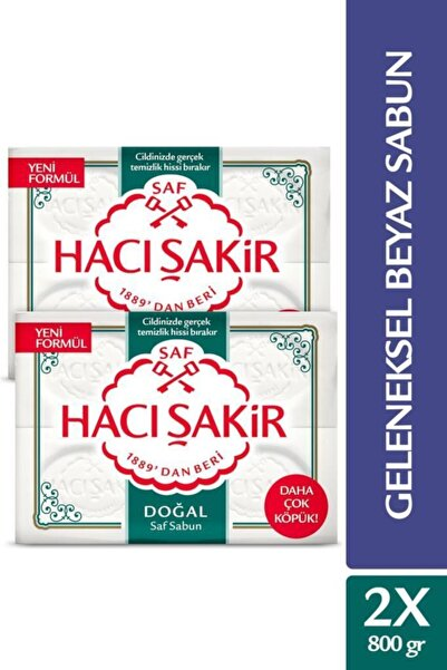 Hacı Şakir Doğal Saf Geleneksel Beyaz Sabun 4x200 Gr X 2 Adet