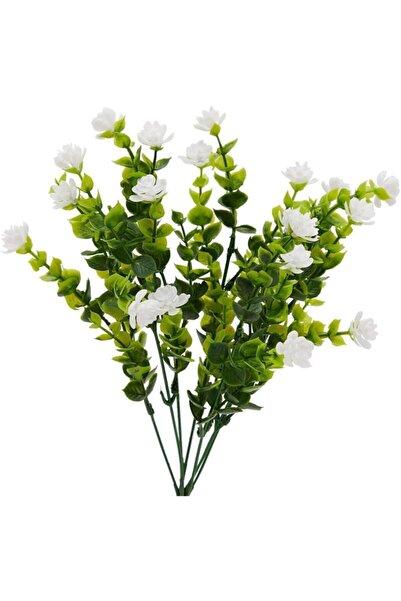 Nettenevime Yapay Çiçek Beyaz Mineli Şimşir Dekoratif Yapay Bitki