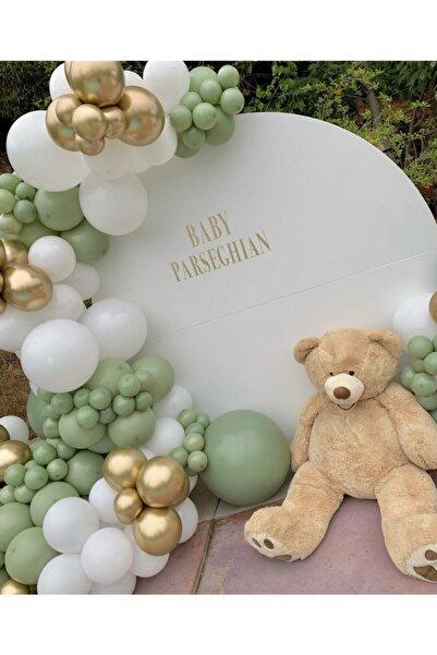 canbayhobi Küf Yeşili Beyaz Krom Gold Balon Konsept Zinciri