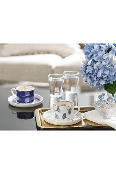 English Home Gingko Biloba New Bone 2 Kişilik Kahve Fincan Takımı 80 Ml Lacivert-beyaz