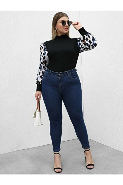 Ramrod Kadın Büyük Beden Likralı Koyu Mavi Kot Pantolon
