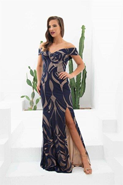 Carmen Kadın Lacivert Dantelli Yaka Abiye Elbise
