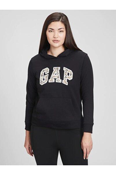 GAP Kadın Siyah Logo Kapüşonlu Sweatshirt