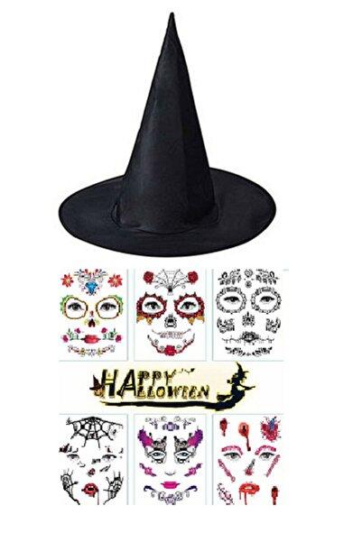 Partini Seç Halloween Siyah Cadı Şapkası Ve Cadılar Bayramı Halloween Dövme Tattoos