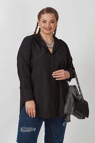 Büyük Moda Kadın Siyah Kapüşonlu Poplin Koton Gömlek