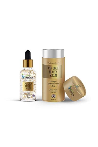 HERITAGE 24k Gold Beauty Serum Yaşlanma Karşıtı Yoğun Nemlendirme Doğal Işıltı 30 ml