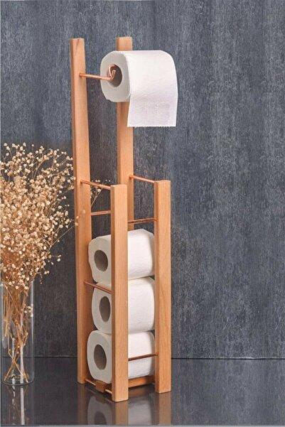 ELMADALI Rose Metal Ve Ahşap Tuvalet Kağıtlığı Banyo Wc Kağıtlık