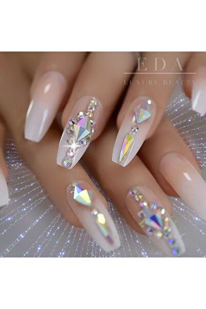 EDA LUXURY BEAUTY Pembe Beyaz French Takma Tırnak Lüks 3d Kristal Taşlı Desenli Extra Uzun Kare Ballerina Nail Art
