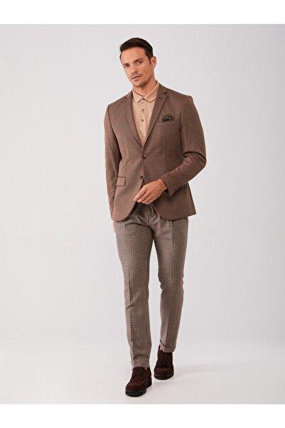 Dufy Kahve Erkek Ceket - Slım Fıt