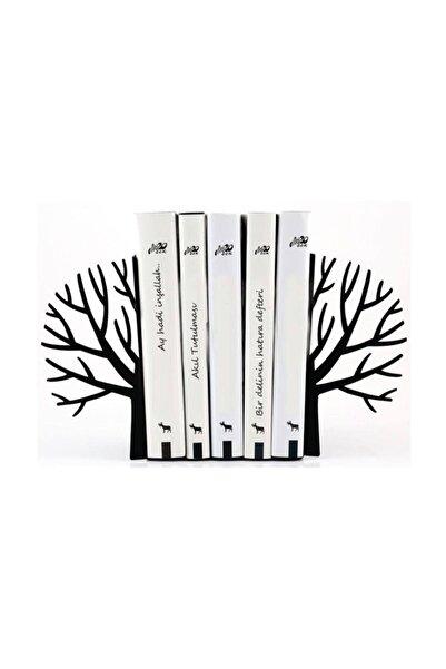 You Bella Ağaç Desenli Kitap Desteği - Ev Ve Ofis Dekoratif Estetik Kitap Tutucu 2'li Set Siyah