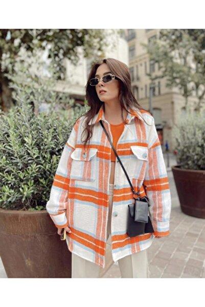 Gigi Zara Model Turuncu Ekoseli Oversize Ceket