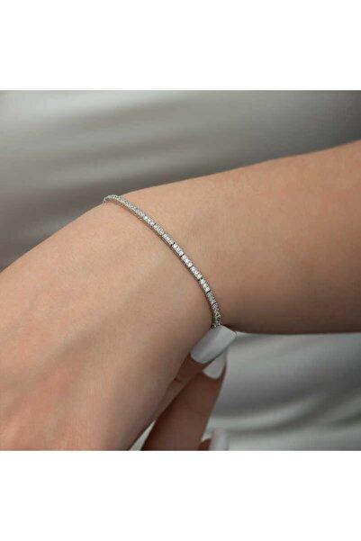 Gumush 925 Ayar Gümüş İnce Su Yolu Bileklik 18 cm