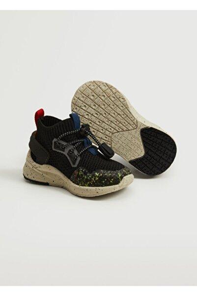 MANGO Baby Bebek Siyah Elastik Maksi Taban Spor Ayakkabı