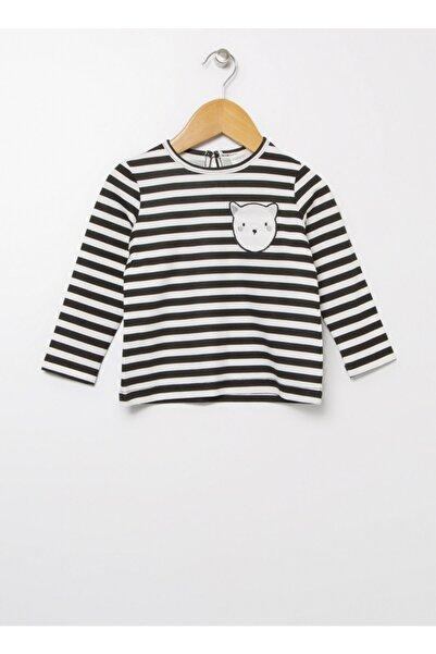 Mammaramma 21wg-9 Siyah - Beyaz Bisiklet Yaka Bebek Çizgili T-shirt
